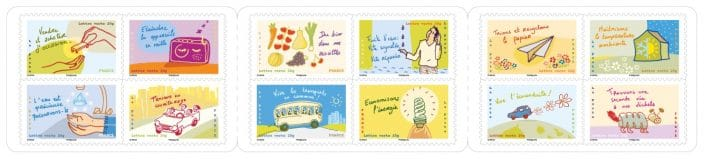 Un carnet de 12 timbres sur les éco-gestes